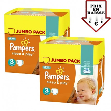 Mega pack 156 Couches Pampers Sleep & Play taille 3 sur Promo Couches