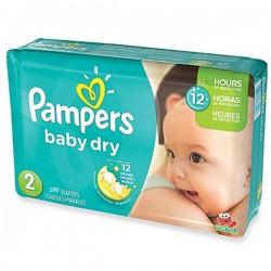 Pack économique d'une quantité de 290 Couches Pampers Baby Dry taille 2