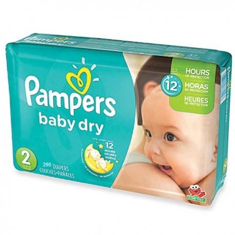 Pack économique d'une quantité de 290 Couches Pampers Baby Dry taille 2 sur Promo Couches
