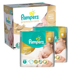 Pack 66 Couches Pampers New Baby Premium Care taille 1 sur Promo Couches
