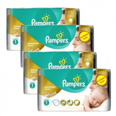 Maxi giga pack 308 Couches Pampers New Baby Premium Care taille 1 sur Promo Couches