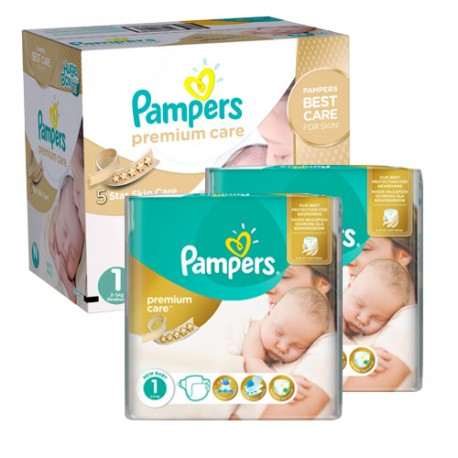 Maxi giga pack 330 Couches Pampers New Baby Premium Care taille 1 sur Promo Couches
